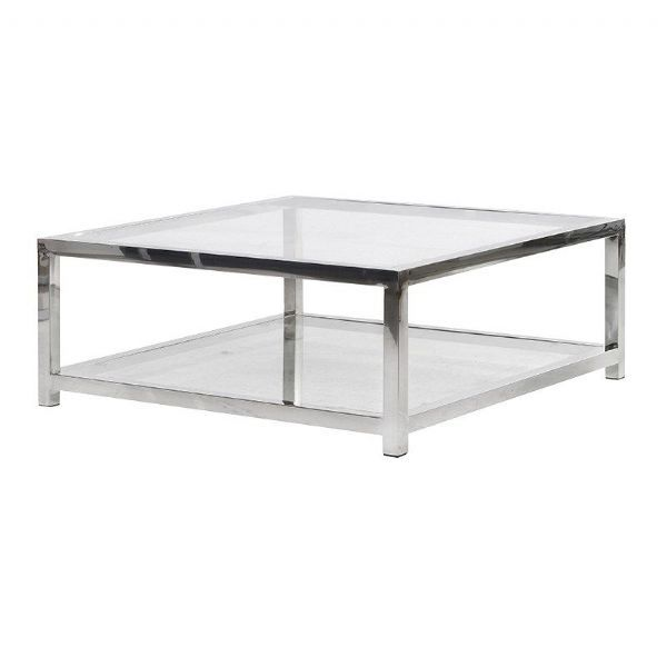 Surprising Terano Contemporary Metal And Glass Top Square Coffee Table Beutiful Home Inspiration Xortanetmahrainfo
