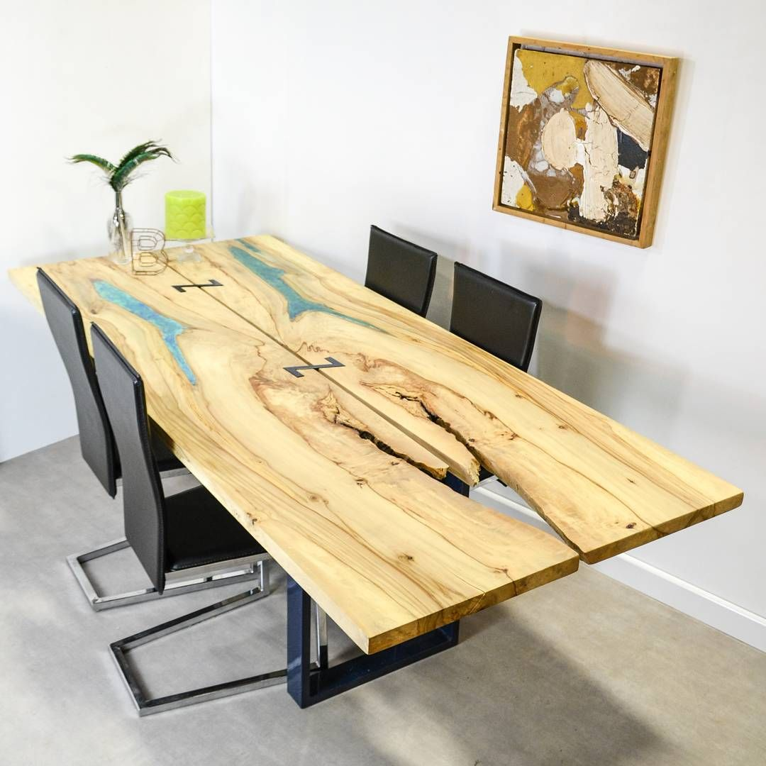 One Off Piece Resin Void Fill Conference Or Dining Table 2 Bookmatched Boards Of English Chestnut With Blue Marbled Resi Table Dining Table Natural Wood Table