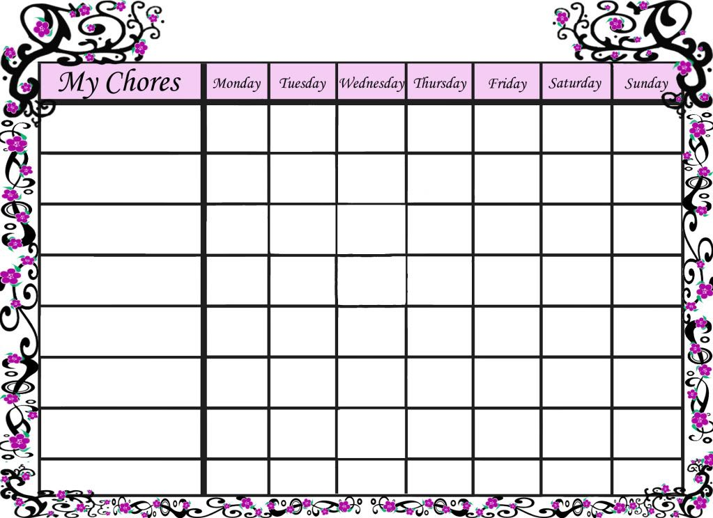 Free Printable Sakura Chore Chart For Your Little Girl | Clean