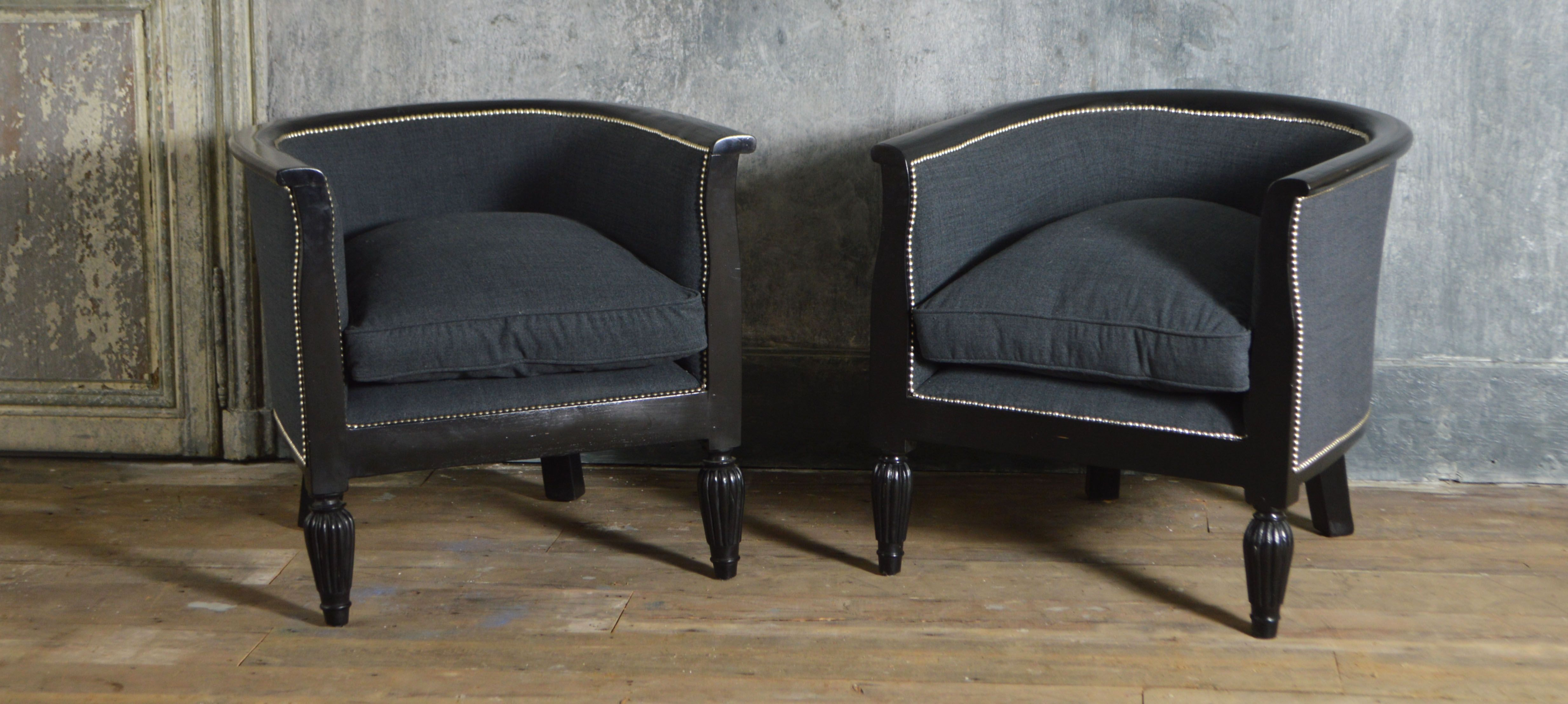 Pair Of French Ebonised Tub Chairs With Images Mid Century