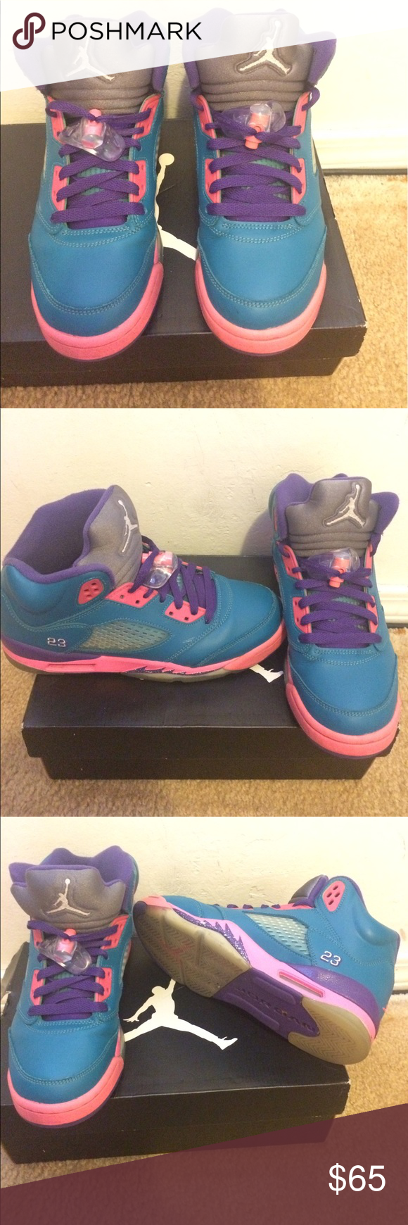 368aa16dfa95 Air Jordan 5 Retro Girls Air Jordan 5 Retro. Tropical Teal White Pink Purple.  Size 5.5 (grade school). Only worn about 5 times. The right shoe has a  little ...