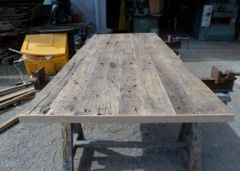 plancher de wagon avec impose pour plateau de table bureau pinterest vieux bois plateau. Black Bedroom Furniture Sets. Home Design Ideas