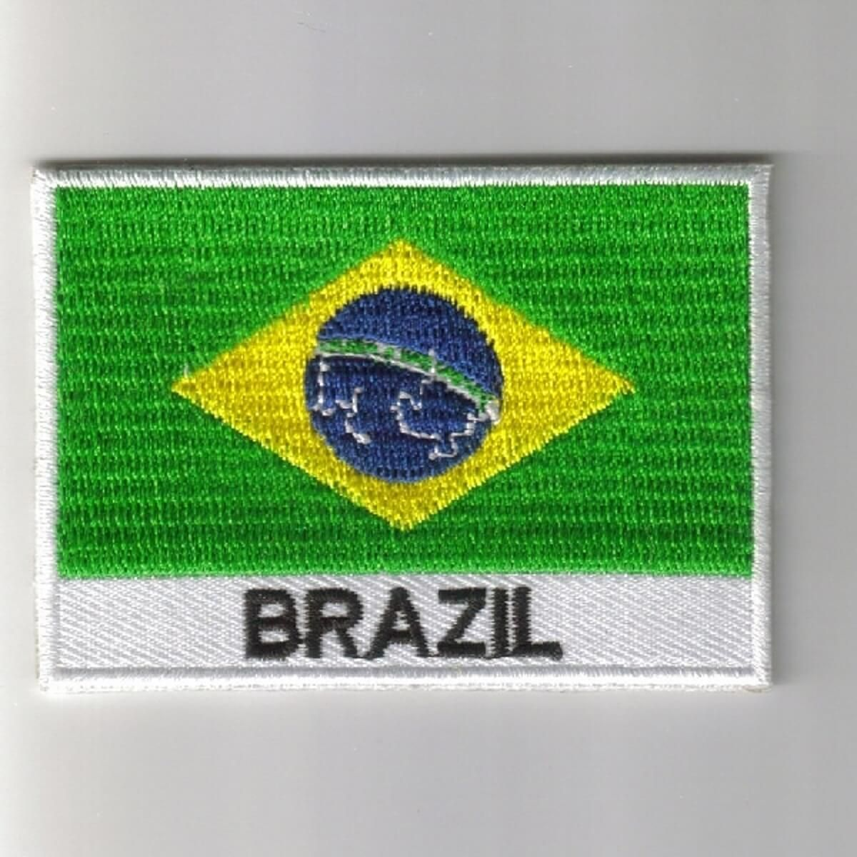 BRAZIL FLAG PATCH BADGE IRON ON NEW EMBROIDERED