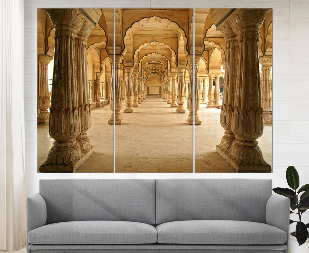 Amber Fort in Jaipur India Canvas Art ,Ancient Indian Wall Art Indian Architecture Canvas Print Indian Sculpture India Photo Indian Decor