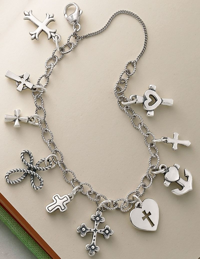 James Avery Cross Charms Shown On A Twisted Wire Cable Link Bracelet Jamesavery