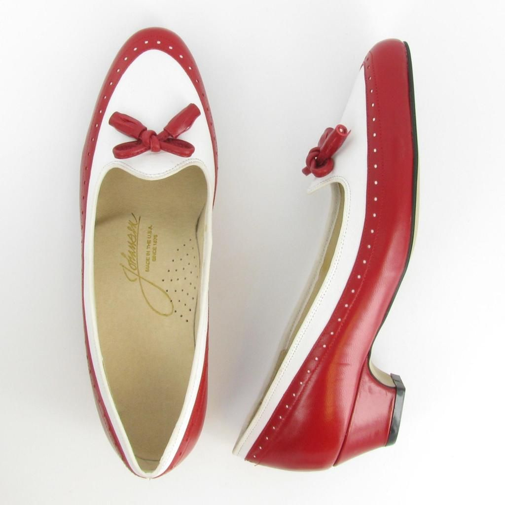CHIT-CHAT - Red/ White Leather : Capps Shoe Co - Johansen - Made in USA