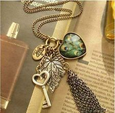 Fashion Huir peafowl necklace charm Heart love key leaf crown tassels purl