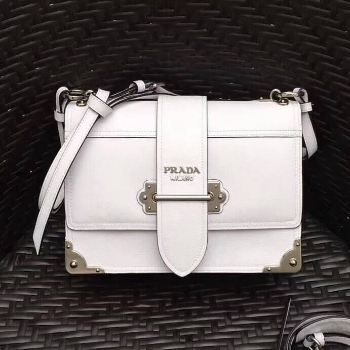 601e2f26abed Prada Cahier Leather Shoulder Bag 1BD095 White 2018