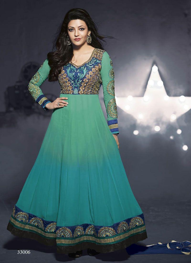 Sea Green Faux Georgette Party Wear Anarkali Suit Shop Now : http ...