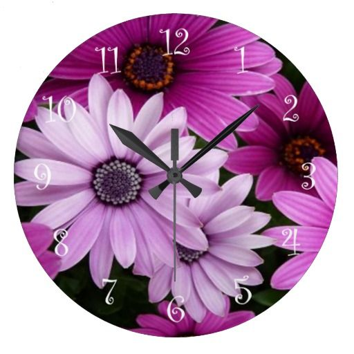 Purple Love Cute Flowers Clock