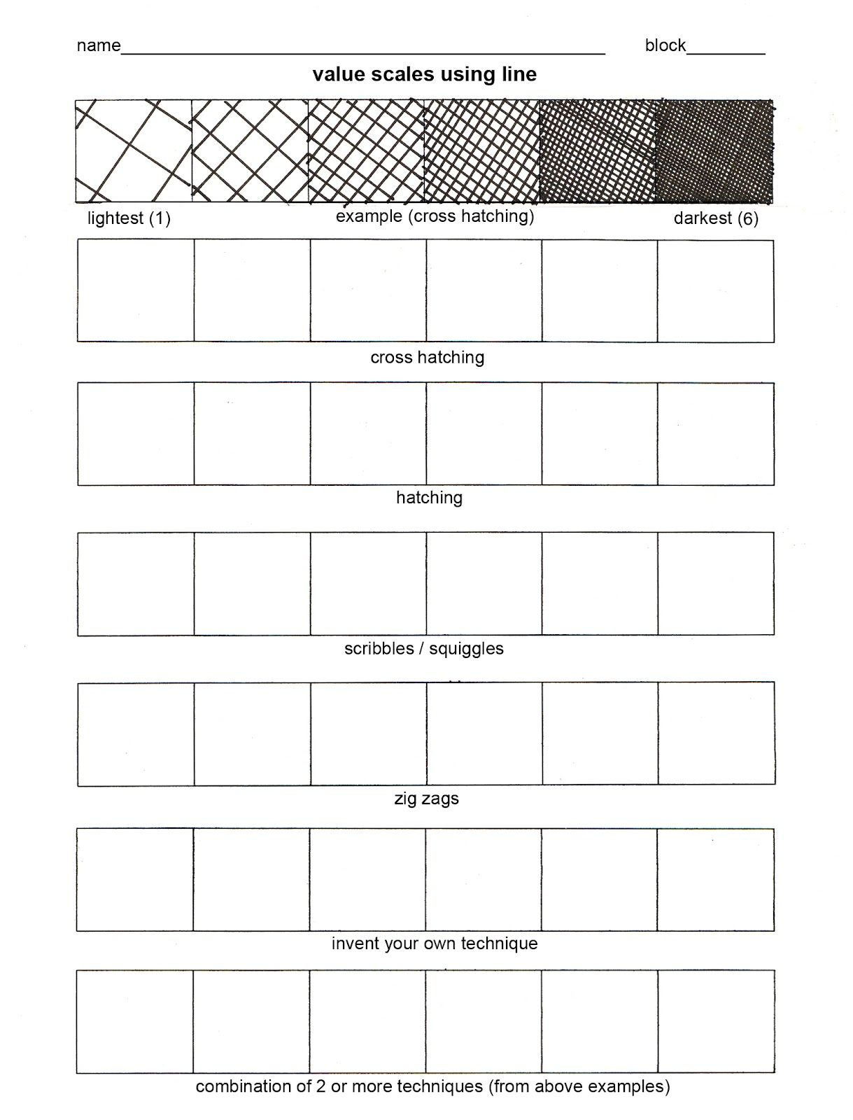 Elements Of Art Value Worksheet