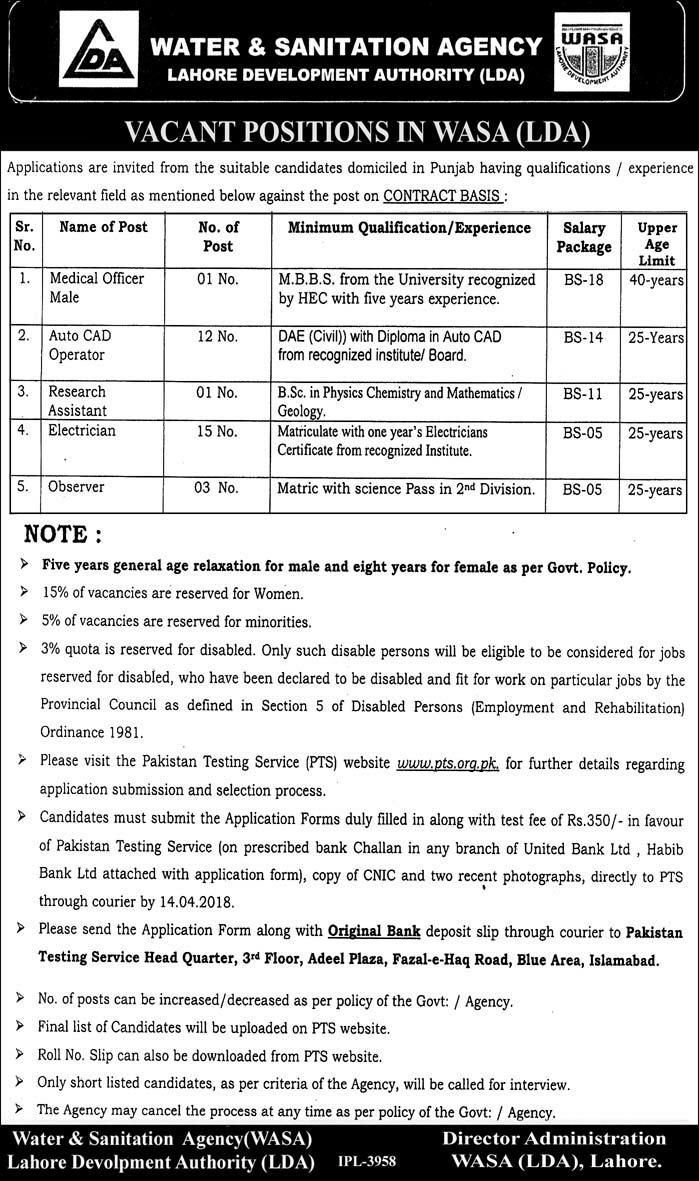 Lahore Development Authority Lda Jobs  For Medical Officers
