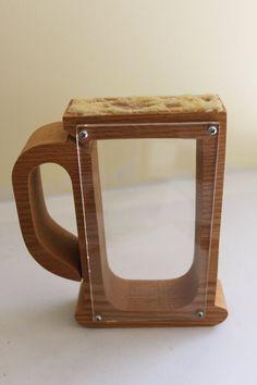 Vintage 1981 Custom Made Wood Beer Mug Piggy Bank Holzdeko