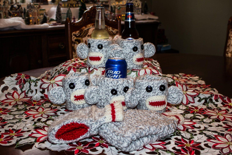 Sock Monkey Beer Gloves by LovewhorlsKnits on Etsy
