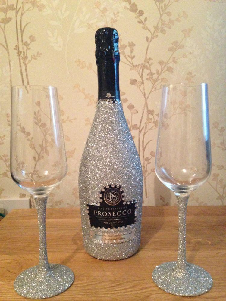 2bddb022e13f Mod podge silver glitter prosecco bottle and champagne glasses ...