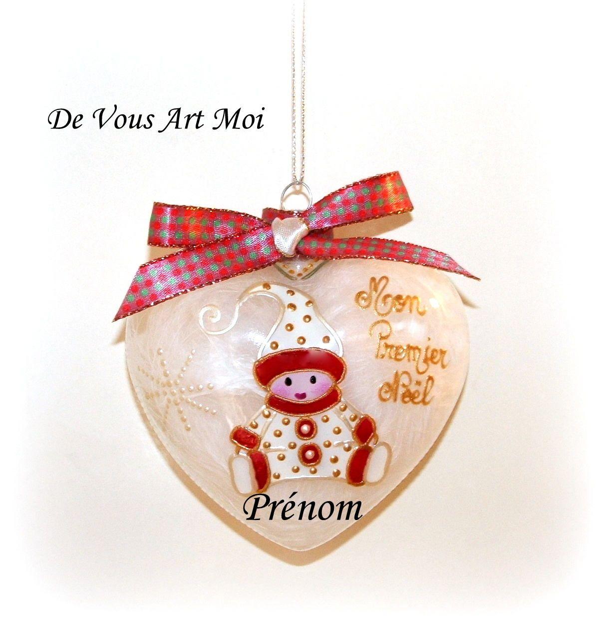 Boule de Noël personnalisée  prénom   Mon premier Noël  avec votre photo