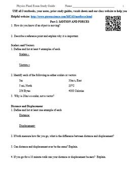 Physics Final Exam Study Guide Review Worksheet | Exam ...
