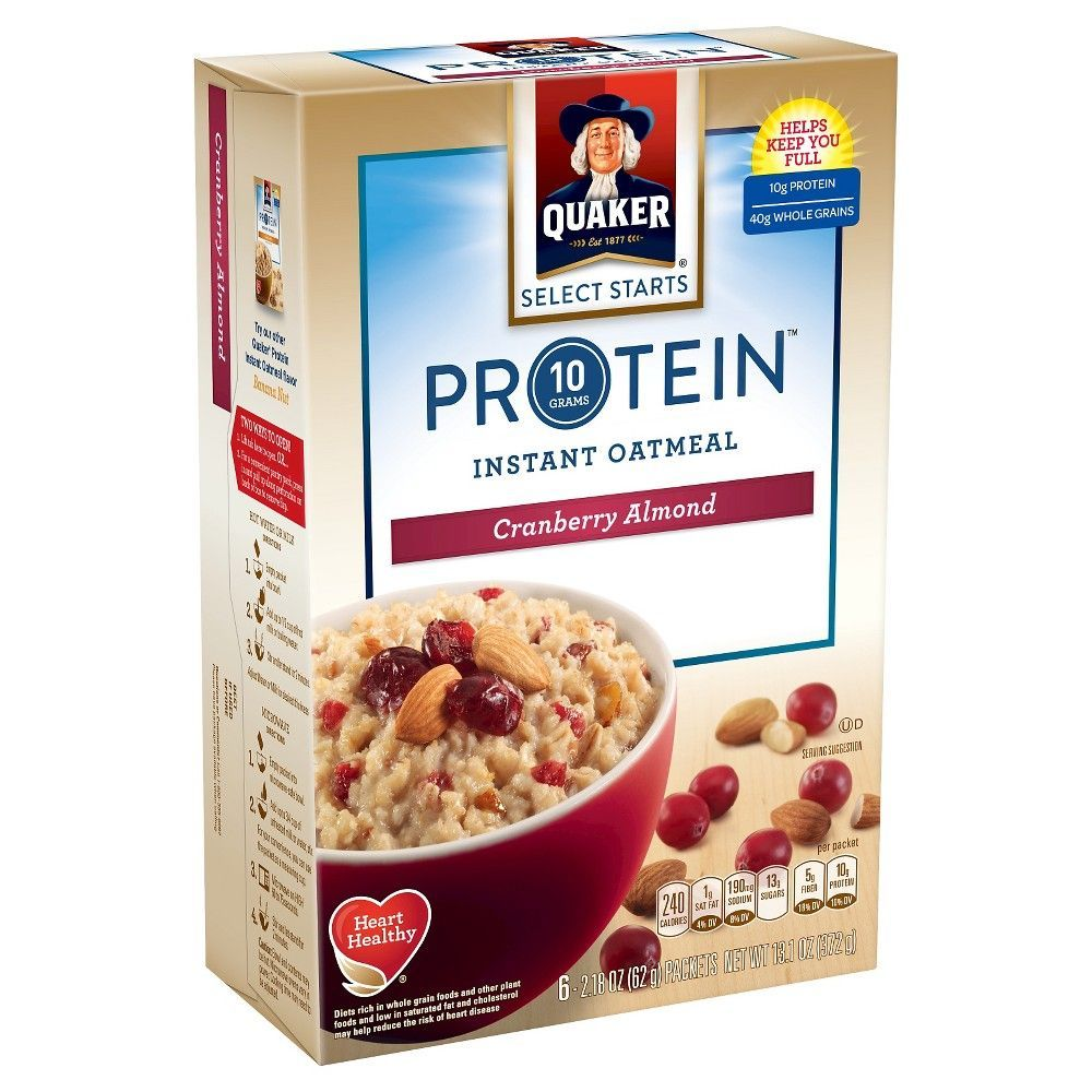 Quaker Protein Cranberry Almond Instant Oatmeal 6ct Food