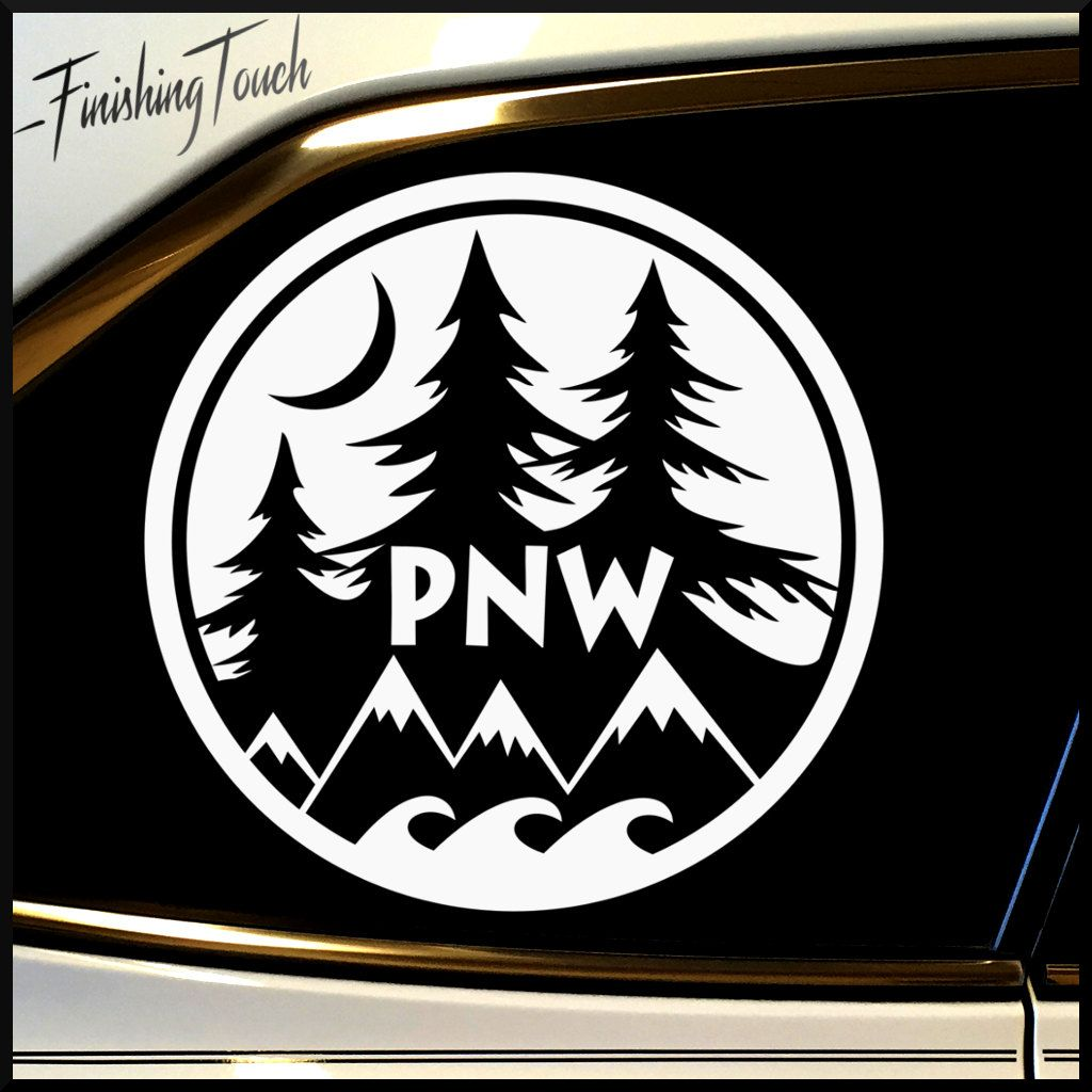 Pnw pacific northwest vinyl decal unique custom graphic for car truck and more by finishingtouchvinyls on etsy