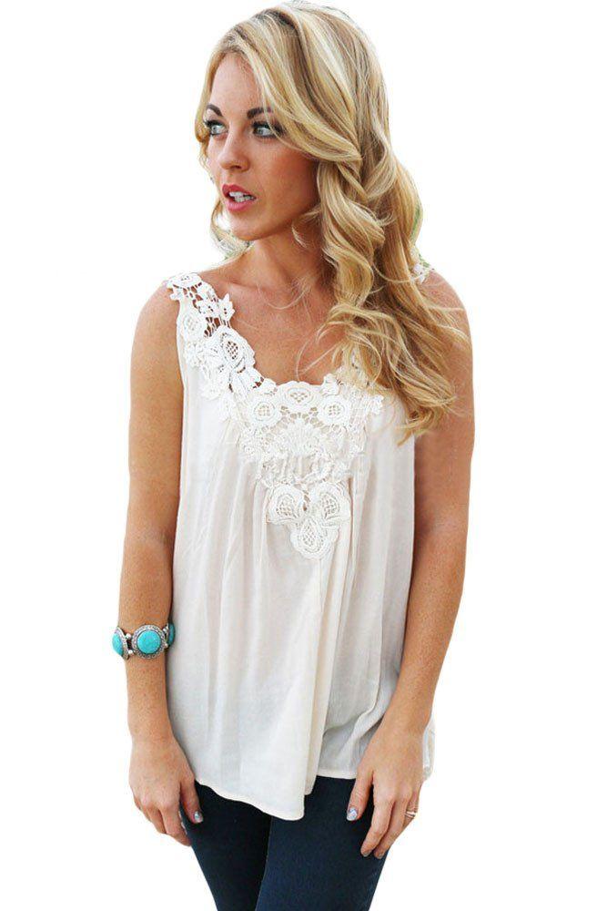 Blouses   Tops Detail Blanc Crochet Dentelle Coulant Debardeur En Mousseline  De Soie  Blouses 537bd41611c
