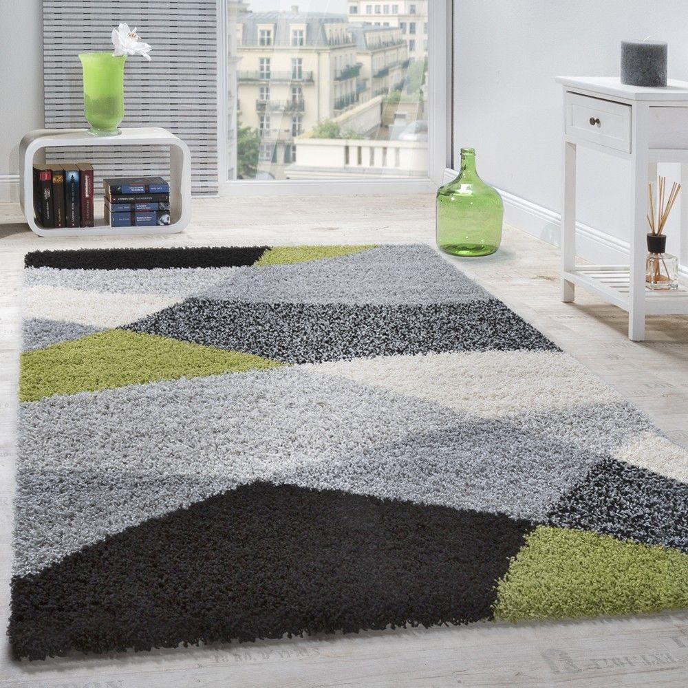 Shaggy Geometrisch Gemustert Versch. Farben Teppich grün
