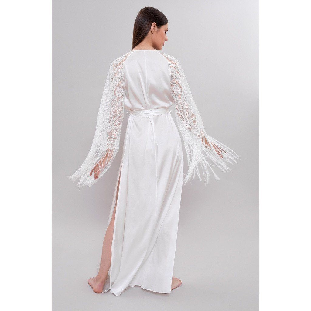 4ba85e2e2c Luxurious Long Bridal Robe made from French lace and pure satin silk with a  touch of stretch. Beautiful in look and feel for your perfect honeymoon or  post ...