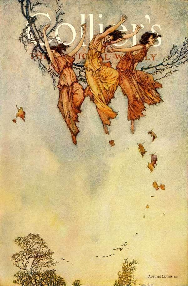 AUTUMN FAIRIES WIND FLYING LEAVES FAIRY ILLUSTRATION BY ARTHUR RACKHAM REPRO