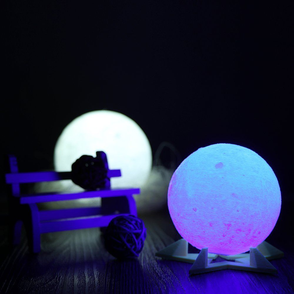 Upgraded Tapcontrol Version 3d Printing Moon Lamp With Wooden Stand Kidsroomdecorideas Lamp Kid Room Decor Light Table