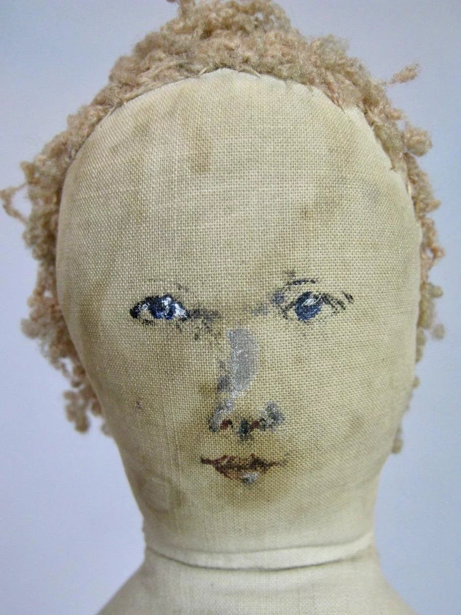 Antique 17 Americana Ink Drawn Painted Face Cloth Doll #dollfacepainting