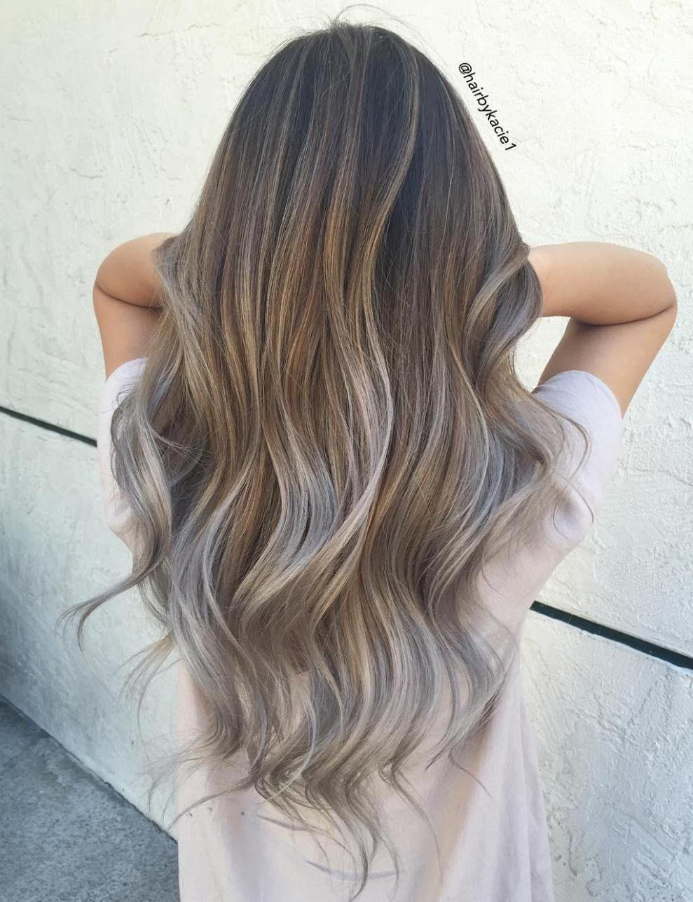 balayage sur cheveux gris