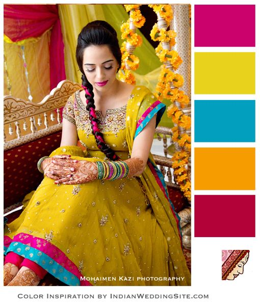 Indian Wedding Inspiration Color Palette Chartreuse Framboise