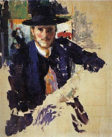 Portrait de Rik � la veste de velours noir (Portrait of Rik Wearing a Black Velvet Jacket), early 1909, oil on canvas. Rik Wouters.