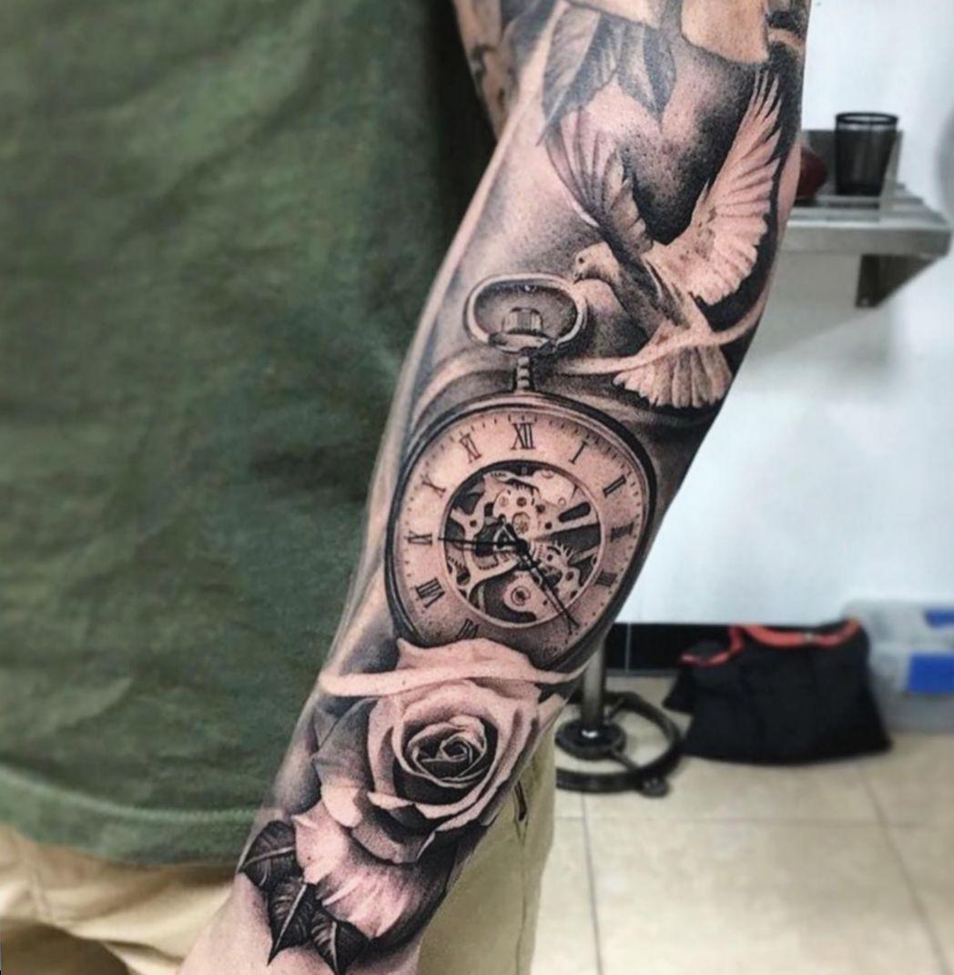 11 Tattoo Rose Clock Dove In 2020 Rose Tattoos Rose Clock Dove Tattoo