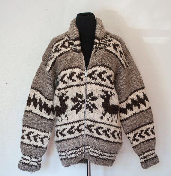 Vintage Cowichan Sweater - Wool Knit Snowflake Grey White Shawl ...