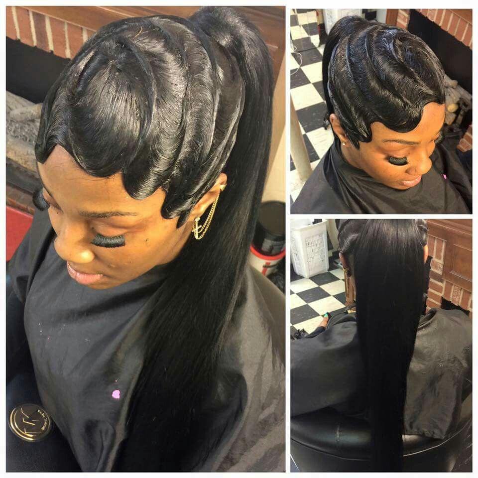 Boy haircuts on black girls waves and ponytail on fleek  linda  pinterest  hair hair styles