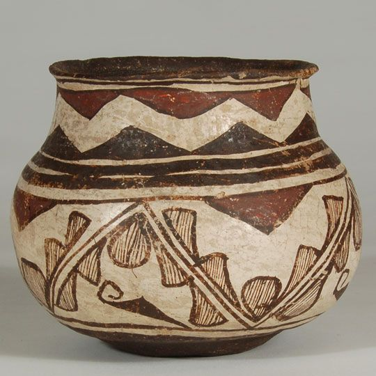 Vintage Native American Pottery Burnished Polychrome clays Pueblo pottery Running Horses Design