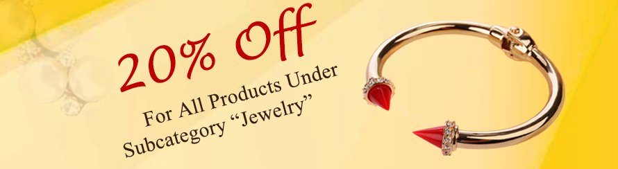 """20% off for all products under subcategory """"Jewelry"""""""