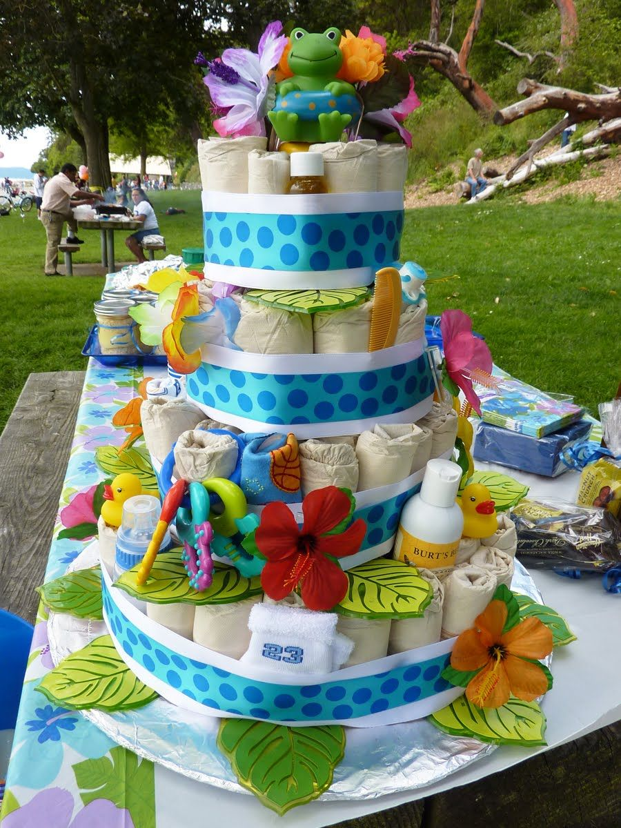 Luau baby shower ideas front of cake party ideas for Baby shower cake decoration ideas