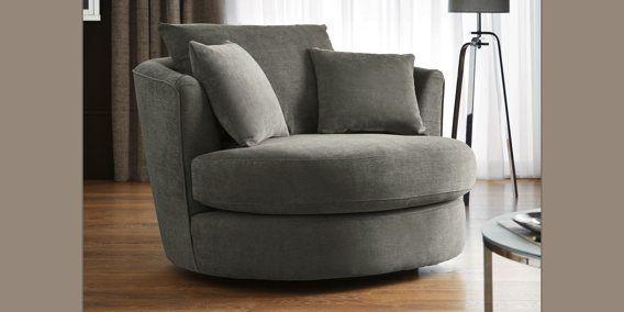 Buy Hampton Large Swivel Snuggle Seat (2 Seats) Plush Chenille Mid Grey  From The Next UK Online Shop
