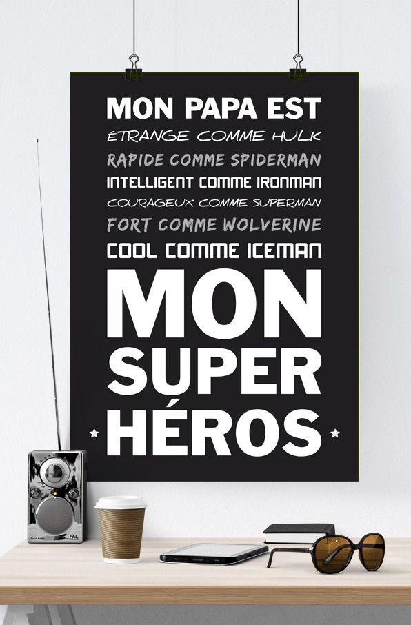 Affiche poster super h ros papa f te des p res affiches illustrations posters par rgb - Idee dessin fete des peres ...