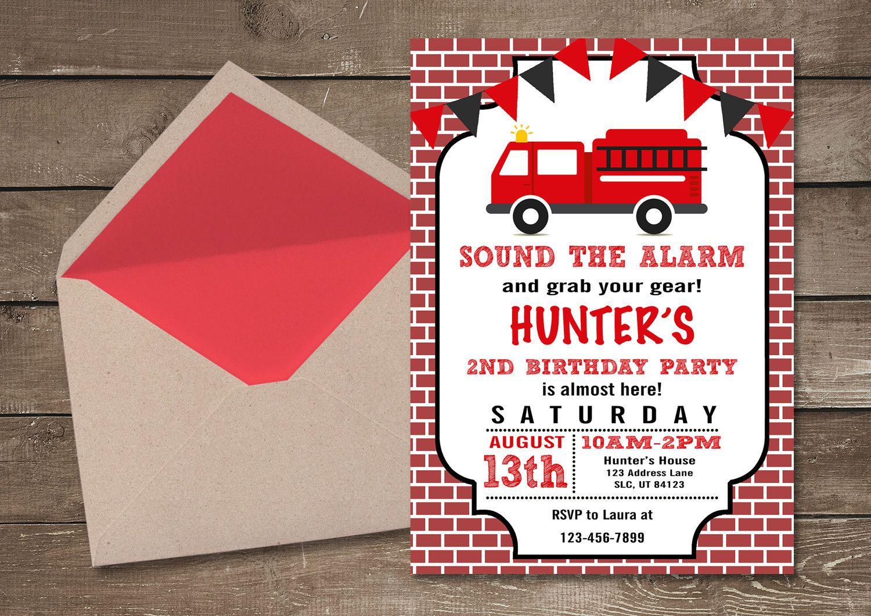 Fire Truck Invitations, Fire Truck Birthday Invitation, Boy Birthday ...