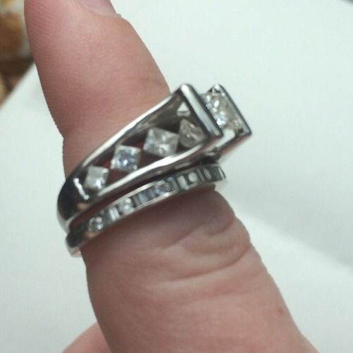 Princess Cut Diamond Wedding Ring #SolitairewithAccents