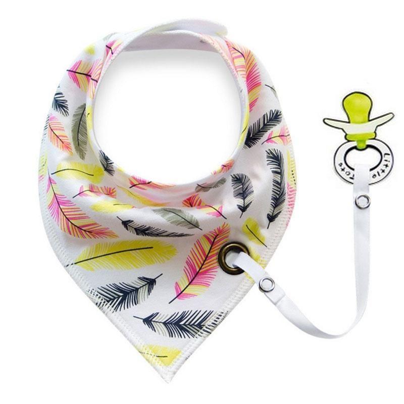 Výsledok vyhľadávania obrázkov pre dopyt Infants Cotton Waterproof Triangle Bibs With a Pacifier Holder Ribbon