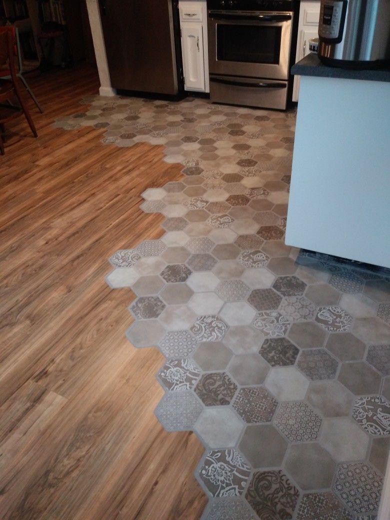 We did it DIY installation of hexagonal tile and wood flooring ...