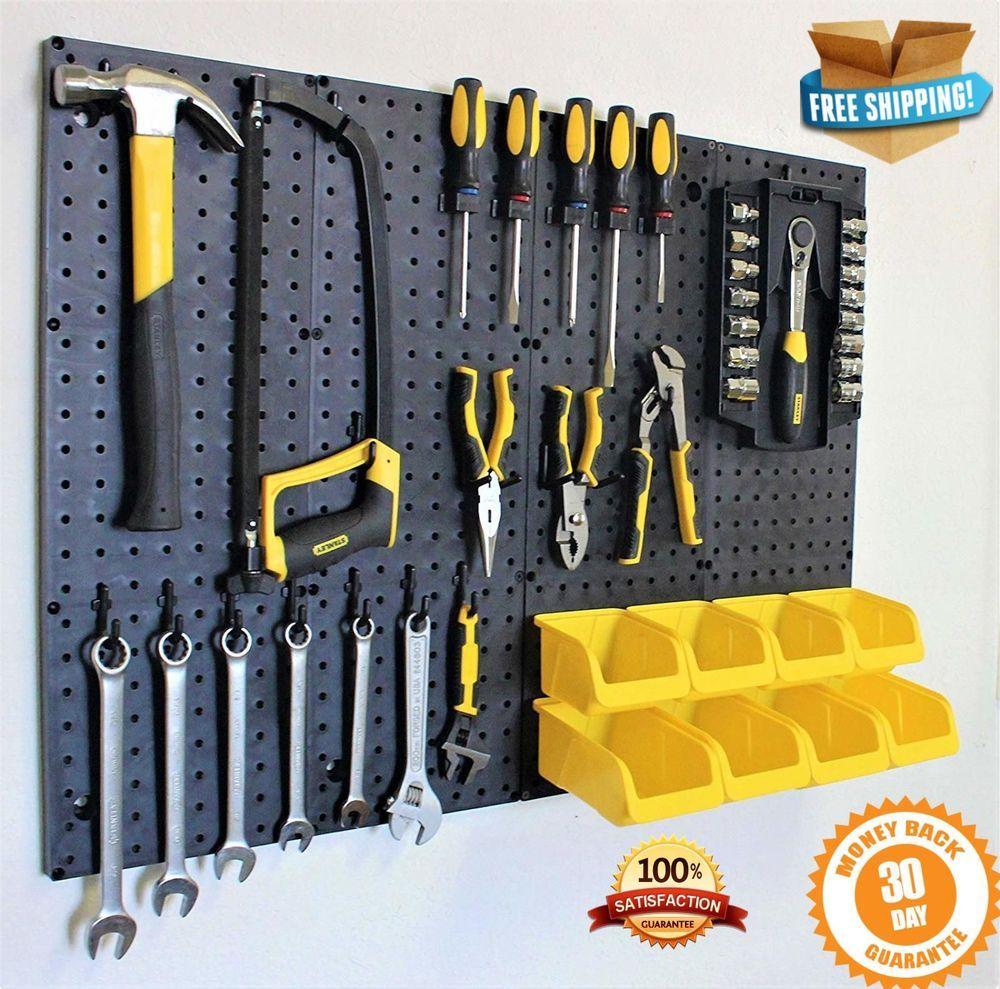 Wall Control Pegboard Standard Tool Storage Kit Panels Bins Hook Garage Organize Pegboard Tools Toolstora Storage Kits Garage Storage Garage Storage Systems