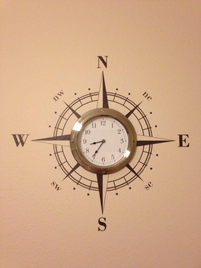 Cute Wall Clock Decal // Compass