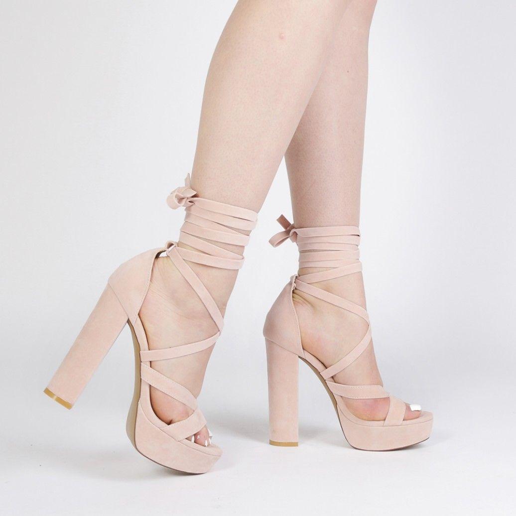 Stella Lace Up Heels in Dusky Pink Faux Suede | Public Desire ...