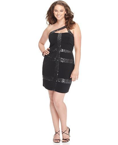 Ruby Rox Plus Size Dress, One Shoulder Sequined