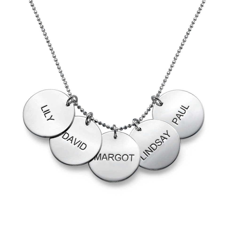 Sterling silver engraved disc name pendant necklace custom made