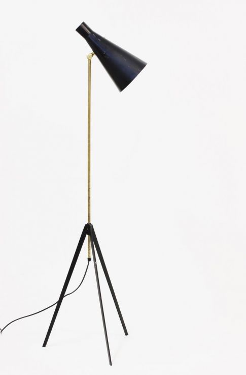 Alf Svensson; Floor lamp, Brass and black laquered steel. Bergboms, 1950's, Sweden, 146cm